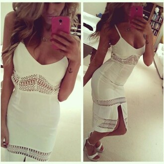 dress beach dress white dress cut out dress slit dress slit summer summer dress party party dress summer outfits sexy party dresses