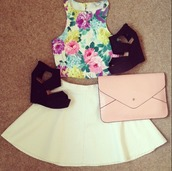 skirt,clothes,floral crop top,leather skirt,shirt,bag,shoes