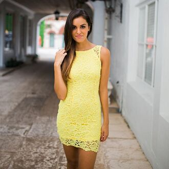 dress lace lace dress yellow yellow lace yellow lace dress bodycon bodycon dress lace bodycon open back backless