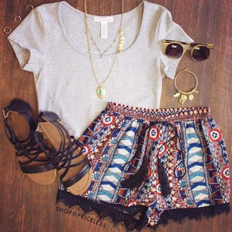 shorts short colorful print shirt
