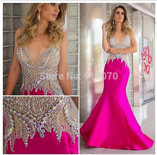 dress prom dress evening dress crystals prom dress beaded party dresses v-neckline evening dress