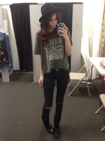 jeans ripped jeans nirvana t-shirt band teashirt nirvana t-shirt grunge tshirt music black shirt acacia clark hipster goth hipster acacia brinley hat grunge