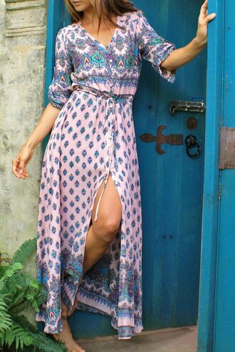 dress fashion pattern pink style summer maxi dress long dress zaful