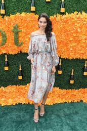 dress,off the shoulder,midi dress,floral,floral dress,sandals,model,shanina shaik