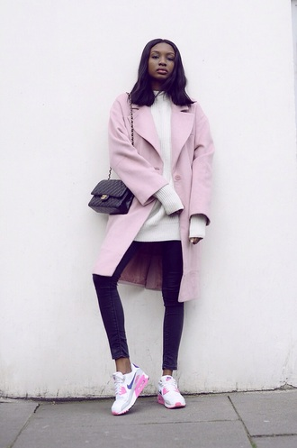 coat pink coat pastel pink coat pink jacket tumblr oversized sweater chanel bag black chanel bag chanel purse nike tick air max pastel pink jacket tumblr outfit tumblr jacket tumblr clothes cream jumper white jumper wool sweater white sweater jeans skinny jeans nike air nike shoes pastel pink jacket