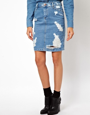 ASOS Denim Skirt in Ripped Vintage Wash at ASOS