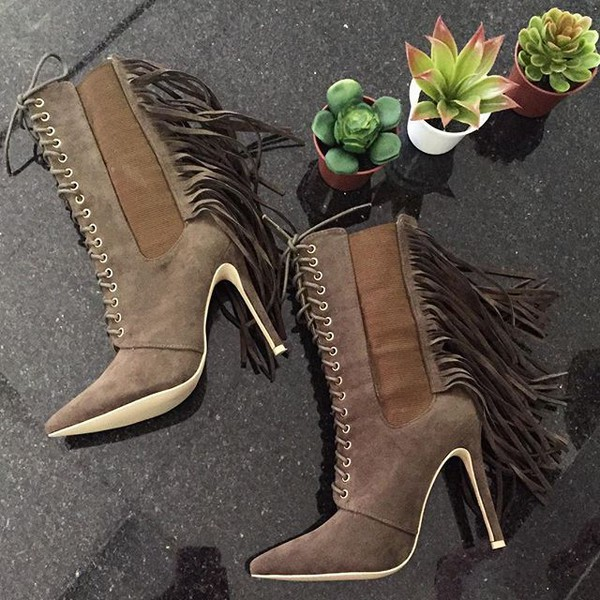 7cb5e74201a Olive Faux Suede Fringe Lace Up Booties   Cicihot Boots Catalog ...