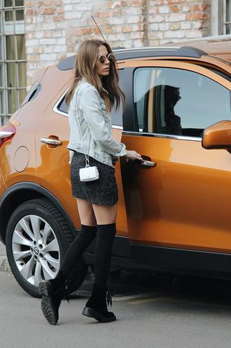 fashion and style blogger shoes socks jewels dress tumblr bag mini bag mini dress black dress jacket denim denim jacket blue jacket bracelets sunglasses