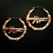 jewels,earrings,machine gun earrings,hoop earrings,gold,bamboo earring,bling,urban,gun,rihanna