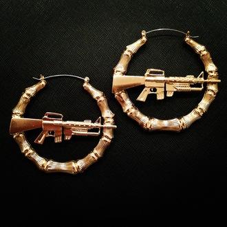 jewels earrings machine gun earrings hoop earrings gold bamboo earring bling urban gun rihanna
