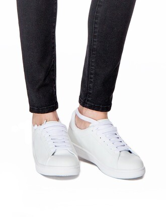 shoes sneakers white sneakers all white sneakers minimal sneakers jeffrey campbell minimalist everyday wear pixie market pixie market girl minimalist shoes