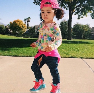 shoes pink blue sneakers high top sneakers sweets sweetshirt candy sweater candy jeans sweater hat fitted fitted hat swag swag girl curly hair style fashion kids clothes kids fashion