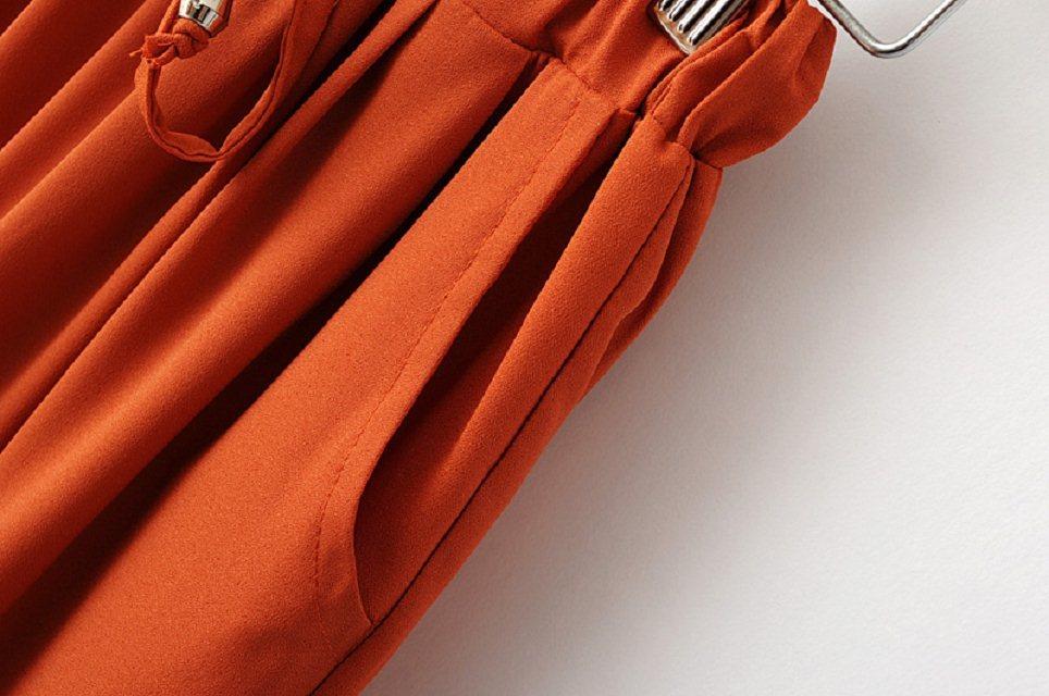 Yellow Drawstring Waist Pockets Loose Pant - Sheinside.com