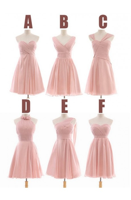 A-line Sweetheart Short/Mini Chiffon Pink Bridesmaid Dress with Beaded NPD1046 Sale at Shopindress.com