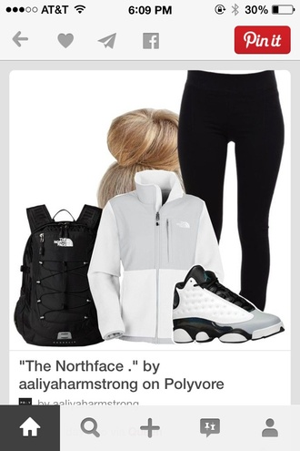 jacket white t-shirt north face shoes white black leggings grey jordans phone cover