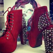 shoes,heels,wedges,redheels,fashion,outfit,hipster,goth,spikes,spiked shoes,heels with spikes,halloween