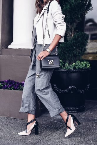 jacket tumblr leather jacket white jacket pants grey pants high heels heels white heels bag black bag