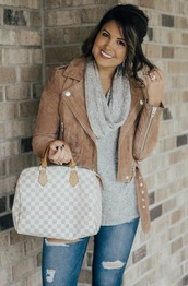 life & messy hair,blogger,jacket,bag,jewels,louis vuitton bag,handbag,turtleneck sweater,cropped jacket,suede jacket