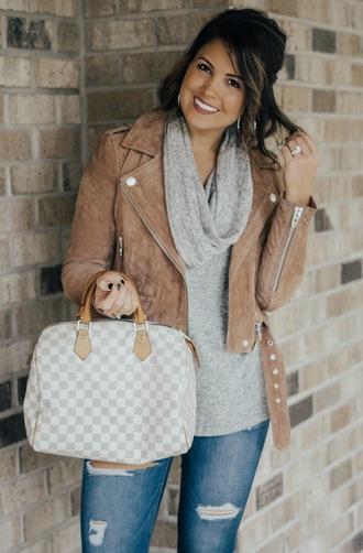 life & messy hair blogger jacket bag jewels louis vuitton bag handbag turtleneck sweater cropped jacket suede jacket