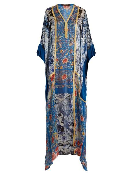 Roberto Cavalli gown print silk satin blue dress