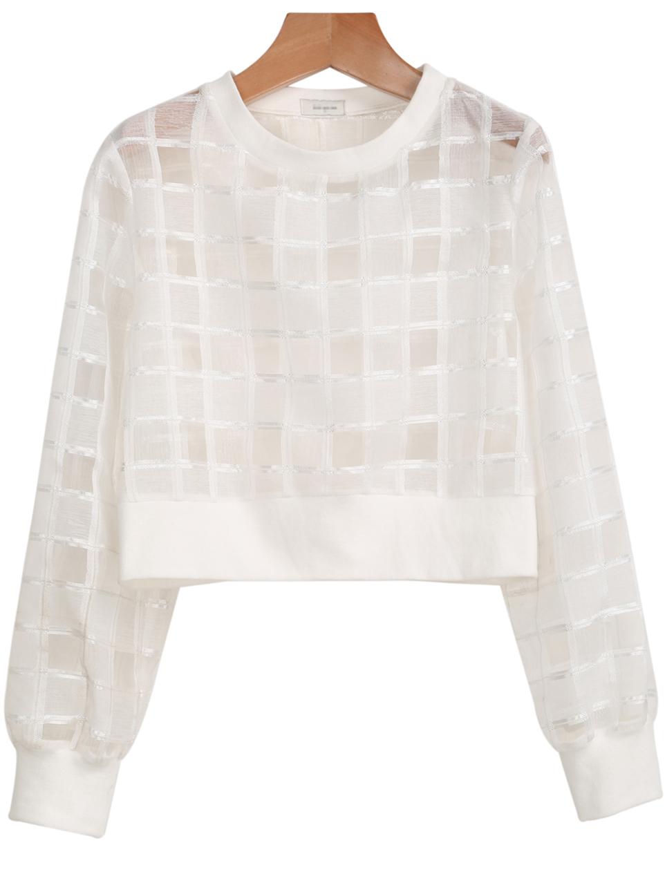 White Long Sleeve Sheer Plaid Crop Blouse - Sheinside.com