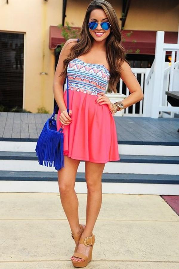 dress pink dress cute dress aztec