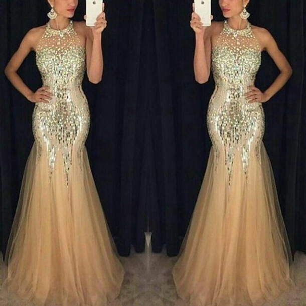 Dress: prom dress, prom, gold sequins, gold, sequin dress, long ...