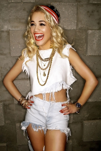 tank top rita ora crop tops summer white