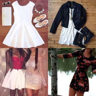 dress white dress black dress floral dress leather jacket shoes boots heels classy dress style