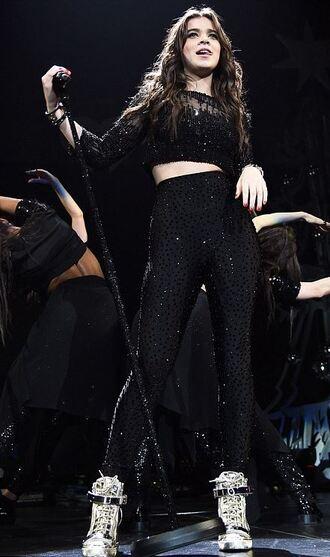 leggings top black sparkle two-piece hailee steinfeld sneakers crop tops