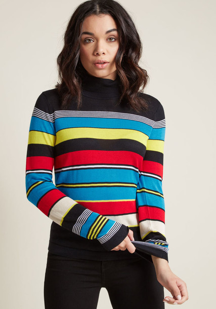 Mds1048 sweater turtleneck retro stripes white blue black yellow red