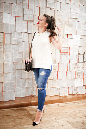 covering bases blogger shoes jewels white top ripped jeans skinny jeans black and white nude heels