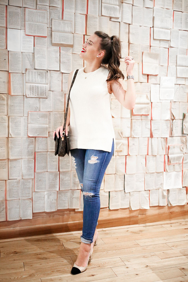 a0e574a55d covering bases blogger shoes jewels white top ripped jeans skinny jeans  black and white nude heels