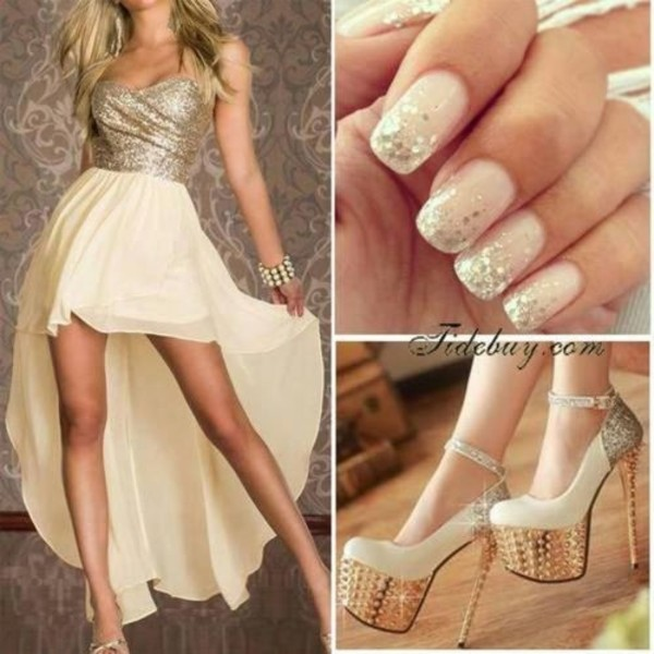 dress nails glitter pink hair pretty prom clothes prom dress shoes nail polish