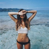 swimwear,bikini,inka williams,crochet,bikini top,crochet bikini,crochet top,white bikini,white swimwear