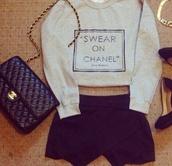 sweater,chanel,swear,favorite,skirt,on,beige,cropped,bag,high heels,black high heels,shorts,chanel bag,gold bracelet,swear on chanel,jewels,shoes,pants,shirt,girly,sweatshirt,omg girlz,slay,swear on chanel sweater