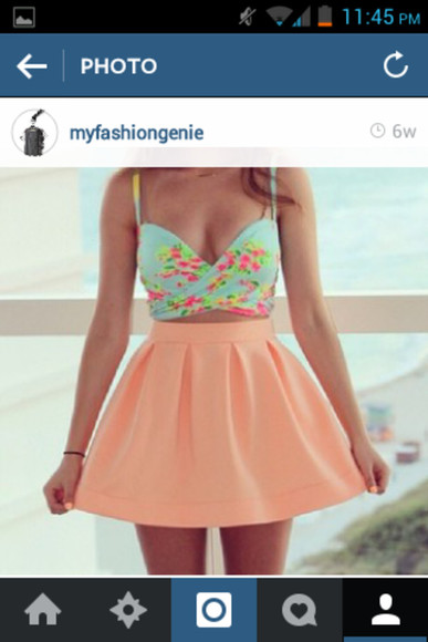skirt pink skirt cute crop top white skirt