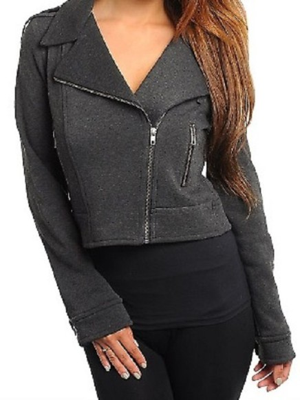 moto jacket jacket zip jacket edgy style fashion trendy crop tops calijoules dinner girls night