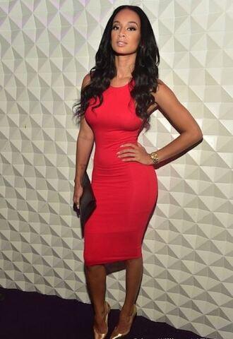 dress red dress bodycon dress bodycon midi dress draya michele