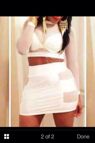 dress crop 2piece lace white dress