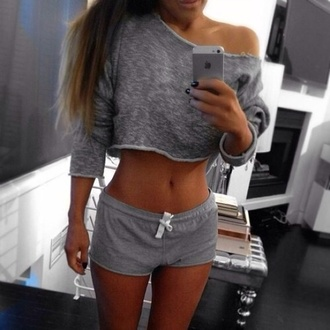 sweater shirt grey shorts grey shorts sports shorts crop cotton workout cropped sweater casual sweater grey sweater cropped crop tops blouse gray crop top gray shorts