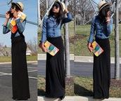 skirt,jersey maxi skirt,black skirt,maxi