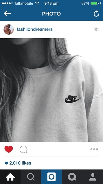 top sweatshirt pullover sweater nike white sweater