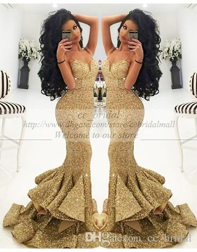 Vintage Long Gold Evening Dresses Sequined Mermaid Prom Gowns ...