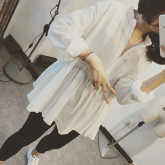 blouse cotton blouse slub cotton white blouse white shirt long sleeve shirt spring shirt spring blouse blouses shirt