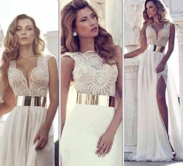 dress long prom dress lace dress beige dress cute dress