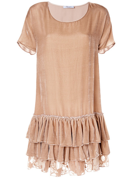 Blumarine dress women nude silk
