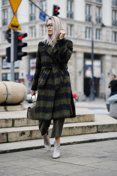 coat tumblr green coat pants cropped pants leather pants boots ankle boots leather culottes tartan