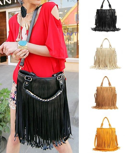 New Fashion Retro Punk Fringe PU Leather Women Handbag Tassel Shoulder Bag | eBay