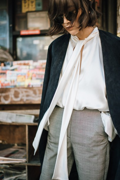 blouse tumblr white blouse silk silk blouse shirt white shirt coat suede black coat pants work outfits office outfits grey pants sunglasses